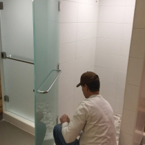 Walker Velour shower doors fabricated by General Glass for and installed by Bend Commercial Glass